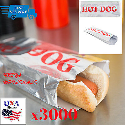 3000 Case Hot Dog Hotdog Foil Bags for Concession Use WHOLESALE   Fast Shipping!