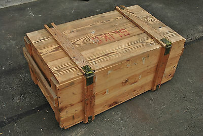 LARGE VINTAGE WOODEN TRUNK  (APPROX 40 YRS OLD) BRUSHED LID DIM:105 X 60 X 47 cm