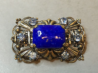 Antique Vintage Russian Brooch With Blue Stones
