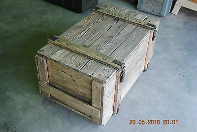 BRUSHED - LARGE VINTAGE WOODEN CHEST TRUNK  APPROX 40 YERS OLD) 105 X 60 X 47 cm