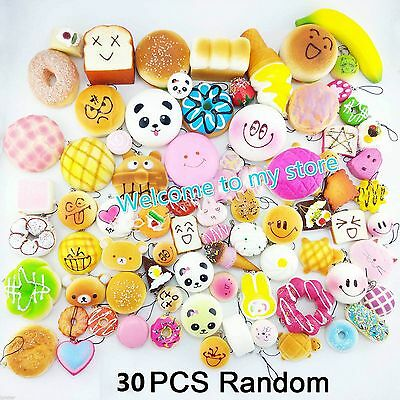 30PC Yummy Donut Kawaii Squishies Bread Toy Bakery Chain Phone Toast Food Soft @