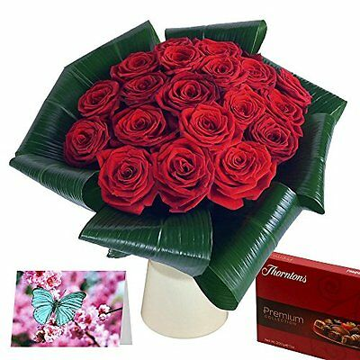 Clare Florist Love 20 Red Roses Fresh Flower Gift Set - Romantic Gift Bundle and