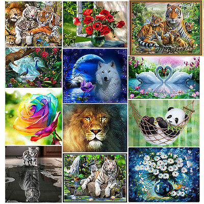 DIY Animal 5D Embroidery Diamond Sticker Cross Stitch Painting Home Decor Tiger