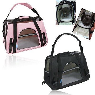 Collapsible Sided Pet Dog Cat Carrier Tote Comfort Travel Bag Airline Approved