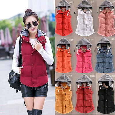 Women Winter Warm Thick Slim Down Cotton Vest Hooded Jackets Waistcoat Top Coat