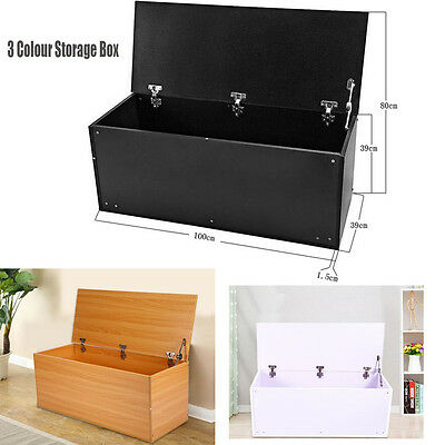 White Black Beech Large Wooden Bench Ottoman Storage Chest Trunk Box with Lid