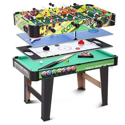 4 In 1 Kids Games Table - Pool / Hockey / Ping Pong / Football Soccer New