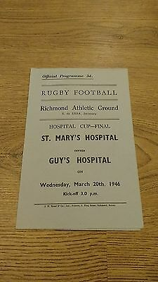 St Mary's v Guy's 1946 Hospitals Cup Final Rugby Union Programme