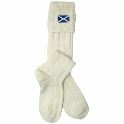 Mens Ecru/Cream Scottish Highland Kilt Hose/Socks With Saltire - Made In UK