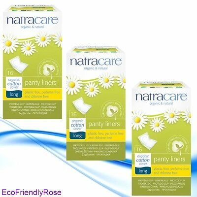 Organic Natracare Long Panty Liners (Wrapped) - 3 Packs of 16