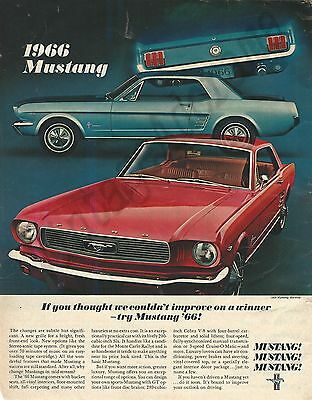 1966 Ford Mustang Automobile Original 1965 Vintage Print Advertisement - Red Car