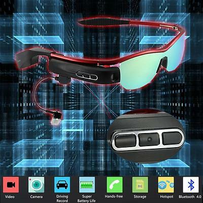 WEAR Bluetooth 4.0 Smart Glasses Photo Video Camera Recording Fr Android IOS Red