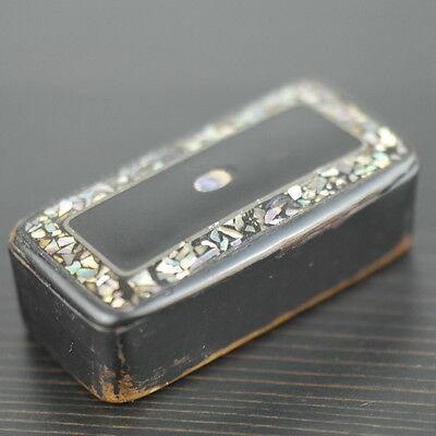 Antique black lacquer snuff box with abalone mother of pearl inlay