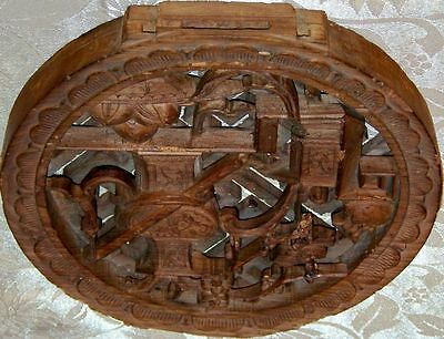 Vintage Round Carved Decorative Wooden  Fretwork
