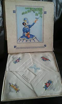 Beautiful box of vintage linen embroidered handkerchiefs