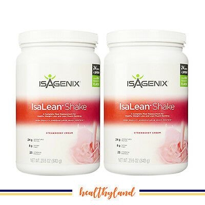 25% OFF Xmas SALE Isagenix Hi Protein IsaLean Shake Strawberry 2x 826g Canisters