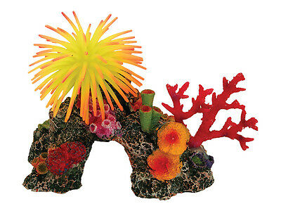 Arched Coral Reef & Silicone Anemone Decoration Ornament for Aquarium Fish Tank