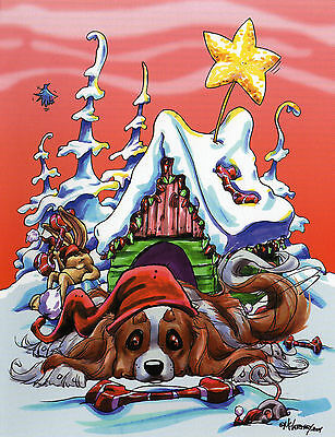 Cavalier King Charles Christmas Card by Mike McCartney