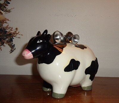 Ceramic Black and White Holstein Cow Measuring Holder with Spoons