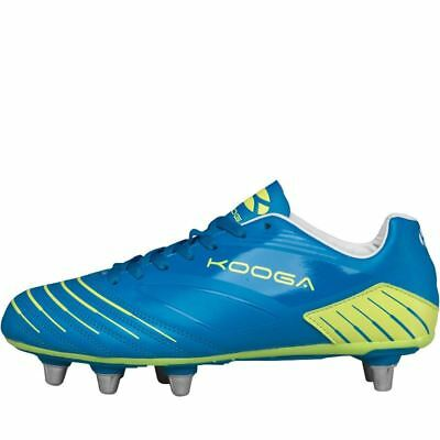 Kooga Advantage Rugby Boots Blue/Lime Soft Ground Mens Studs Cleats Footwear