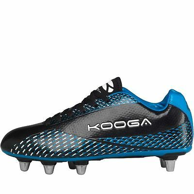 Kooga Combat Rugby Boots Black/Blue Soft Ground Mens Studs Cleats Footwear