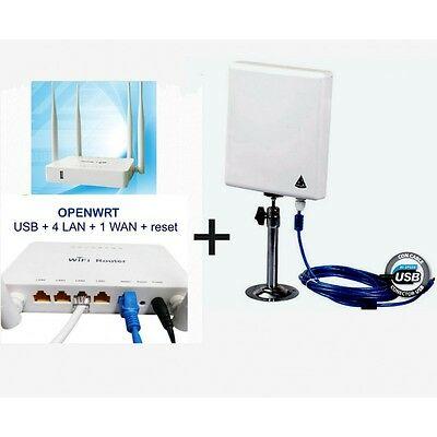 MELON KIT-300-OPENWRT Kit Wi-Fi repetidor con Antena Panel 300Mbps + router Open