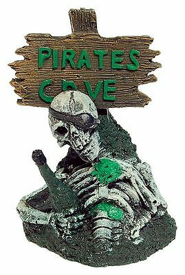 Drunk Pirate Skeleton with Signpost Decoration Ornament for Aquarium Fish Tank