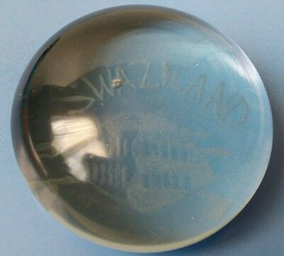 VINTAGE AFRICAN ZULU SWAZILAND HAND ETCHED GLASS PAPERWEIGHT 1910s/1920s ? THIS