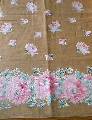 Vintage Soft Green Petite Small Scale Daisy Floral Chinoiserie Silk Fabric ~