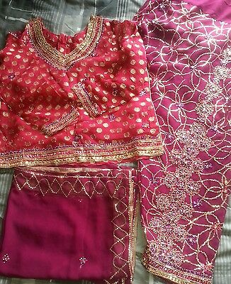 indian punjabi style salwaar kameez pink purple size 10 party wear