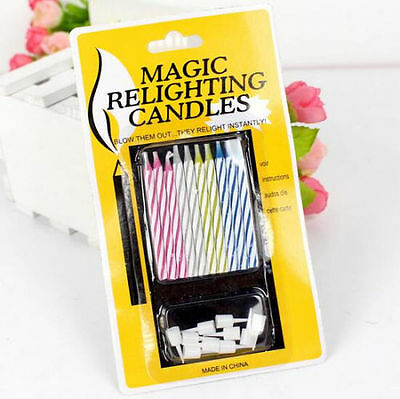 10pcs FUNNY MAGIC RELIGHTING CANDLES blow them out they relight instantly! Party