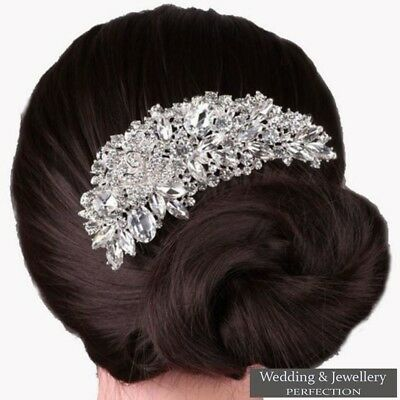 Bridal Wedding Flower Hair Comb Diamante Crystal Rhinestone Clip Slide Jewel UK