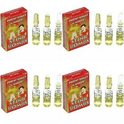 12 Stink Bombs Joke Shop Pranks - 4 Boxes Of 3 Bombs Smells Of Farts Rotten Eggs