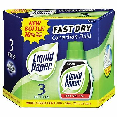 Paper Mate Liquid Paper Fast Dry Correction Fluid 3 Pack