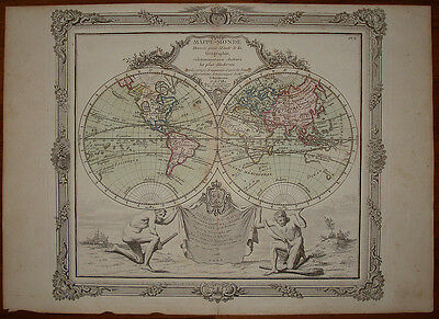 old map L. Brion 1766 stampa antica carta geografica mappamondo world map