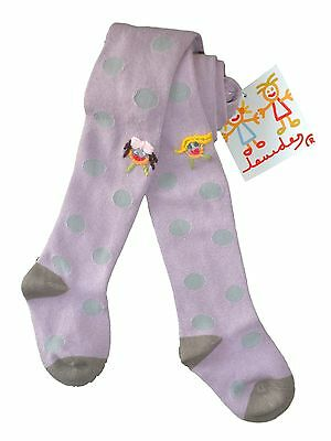 Girls quality LOURDES embroidery TIGHTS 100% cotton 2/4Y  7/9Y 10/12Y lilac BNWT