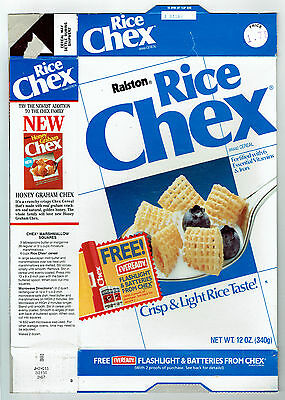 Rice Chex 12 oz. Cereal Box 1987 Ralston - Eveready Chex Flashlight & Batteries