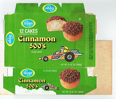 Kroger Cinnamon 500's Cakes Box 1980's Filled Snack Cakes - Race Car