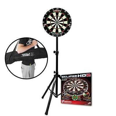 Unicorn Eclipse HD 2 Dartboard with Gorilla Arrow Pro Portable Stand & Carry Bag