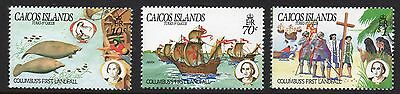 Caicos Islands 1984 Columbus SG 58 - 60 unmounted mint
