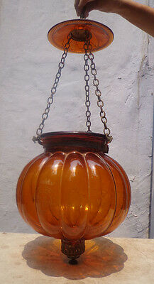 Rare Antique Amber and Brass Hanging Hall Candle Light Hallmarked Belgium