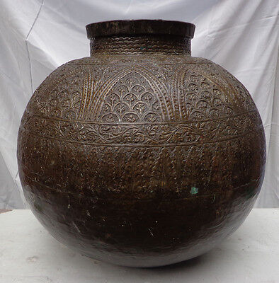 19 C Antique Large Original Handcrafted Copper Hand Engraved Islamic Pot