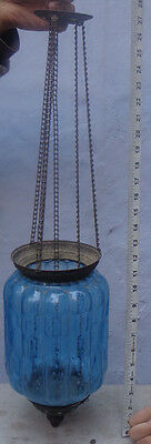 ANTIQUE BLUE GLASS CANDLE CEILING LAMP c.1900 BELGIUM ONE OF A PAIR