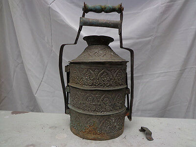 Antique Rare Large Handcrafted Copper Lunch Tiffin Stacked Boxes