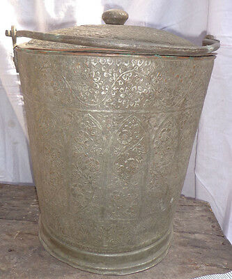 Large Antique Handcrafted Floral Copper Bucket with Cover