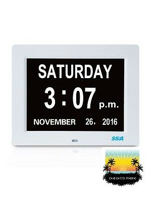 Digital Calendar Day Clock -  Large Clear Time Day and Date display - White