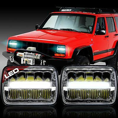 """2x New! LED 5"""" X 7"""" LED Headlight Replacement for Jeep Cherokee XJ Trucks"""