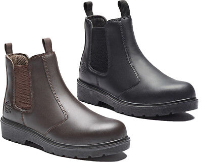 MENS DICKIES BROWN LEATHER SAFETY DEALER WORK BOOTS STEEL TOE CAP FA23345