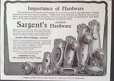 Antique 1907 Ad {E23}~Sargent & Co. Ny. Artistic Hardware