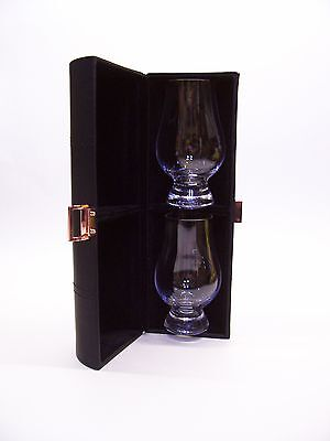 Leather Travel Case with Two Glencairn Whisky Tasting / Nosing Glasses  Scotland